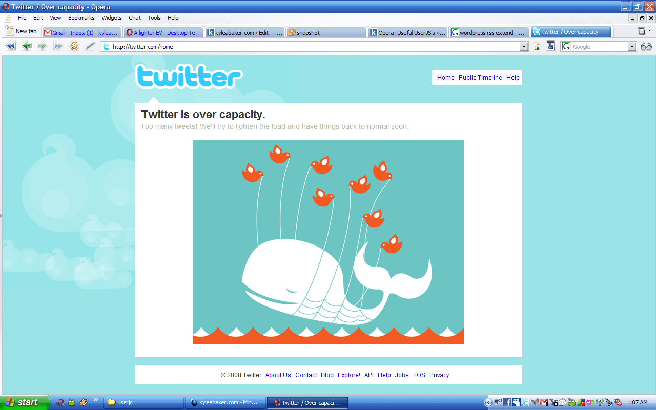 Twitter's down yet again: Twitter is over capacity.