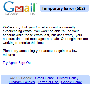 Gmail: Server Error 502