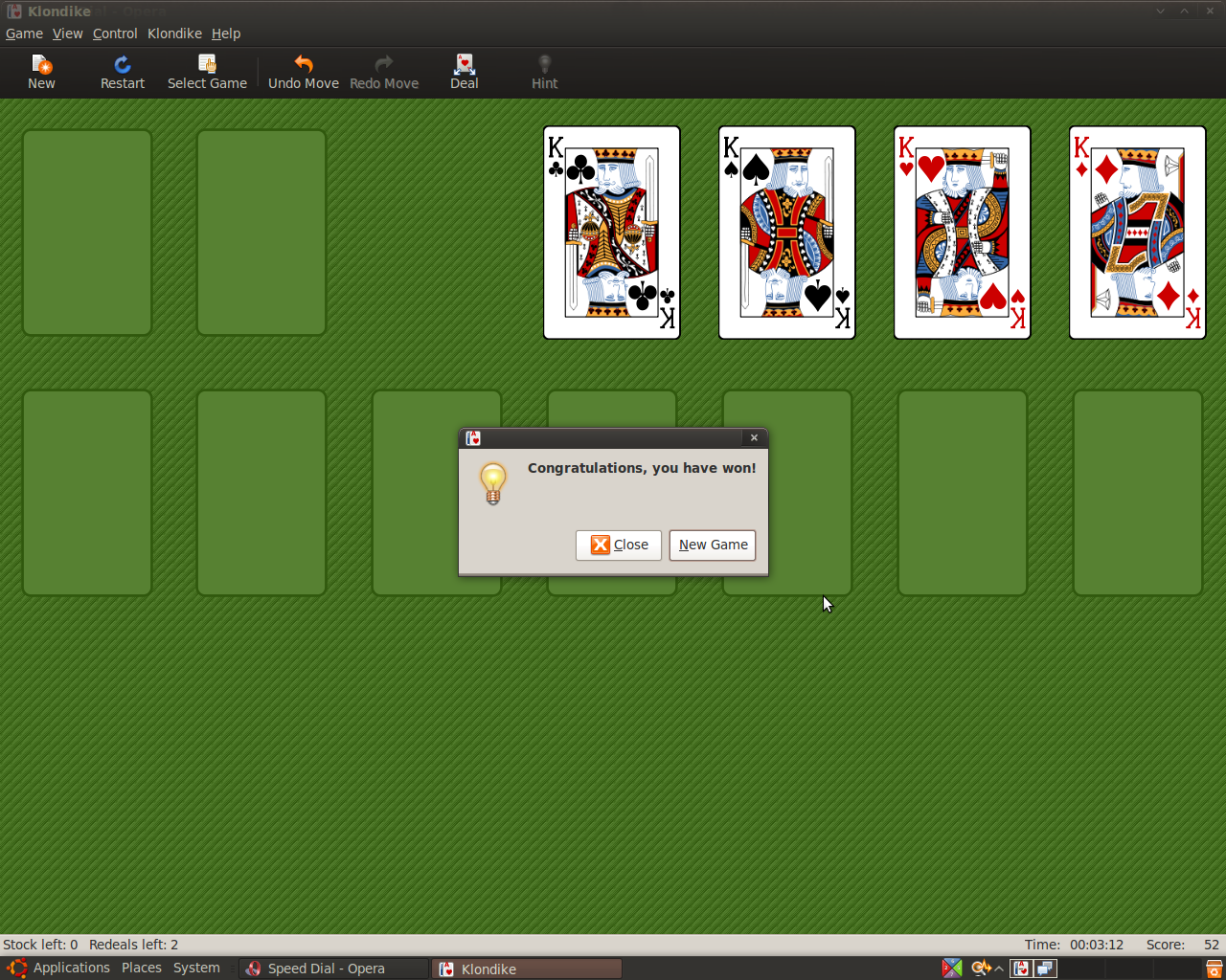 Awesome, I beat Solitaire in one deal!
