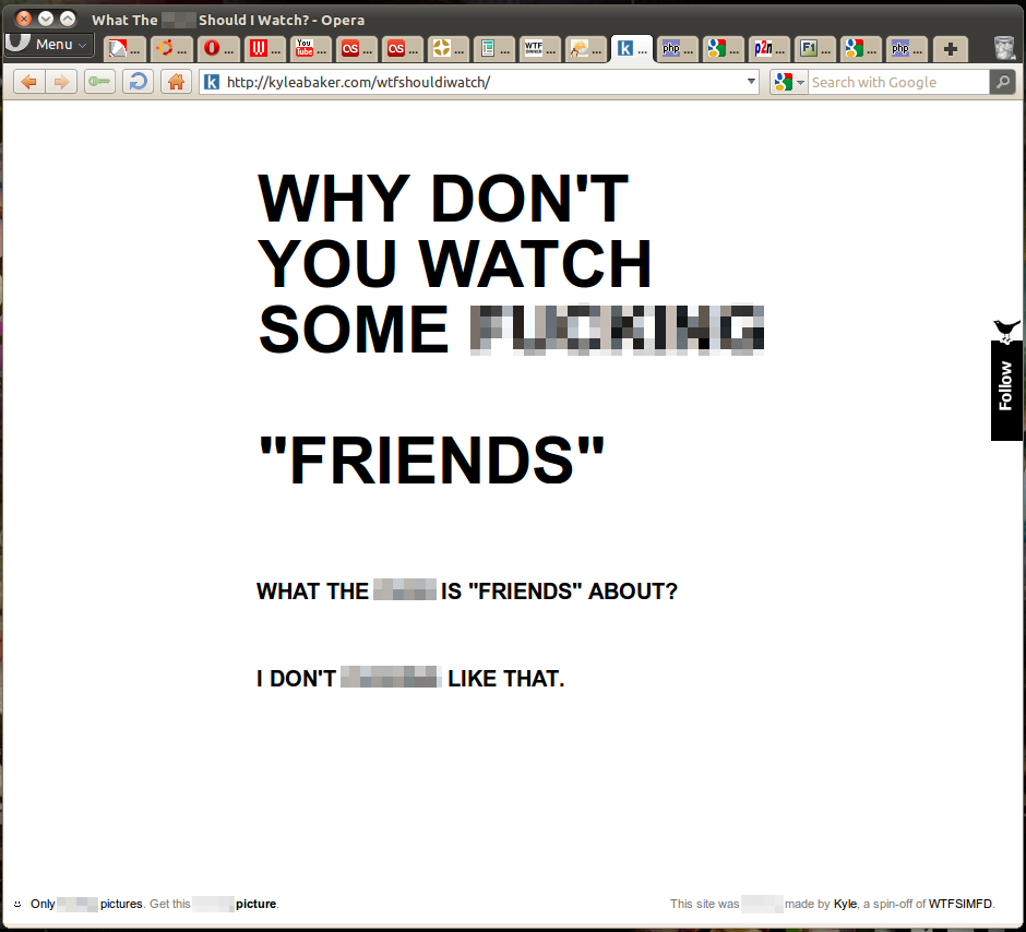 Screenshot of the WTFSIW page in action..