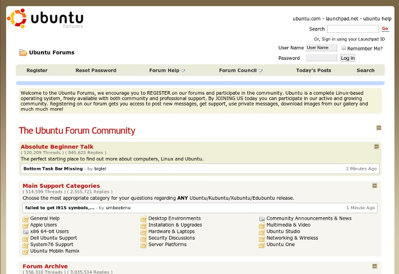 UbuntuForums.org Site Makeover via UserJS